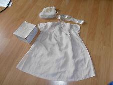 Rare 1930 High Class Babys Hand Made Silk Dress and Knitted Bonnet