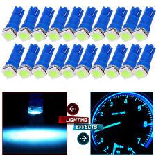 Pack of 20 T5 5050 1SMD Ice Blue Dashboard Gauge LED Wedge Lamp Bulb Lights