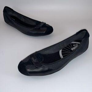 PUMA Zandy Womens Sz 11 Black Casual Slip On Walking Athletic Ballet Flats Shoe