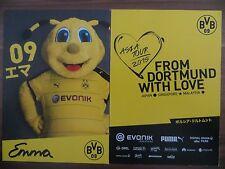 Handsignierte Autogrammkarte MASKOTTCHEN EMMA Borussia Dortmund Asien Tour 2015