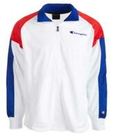 Champion Men's Mesh Colorblocked Warm-Up Jacket (White, M)