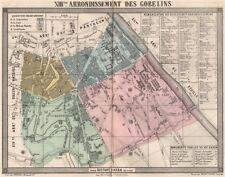 PARIS 13e 13th XIIIme arrondissement des Gobelins. BARBA 1860 old antique map