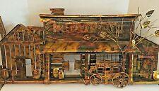 """Vintage Metal Wall Art Sculpture Brutalist Modernist MCM """"Bale of Hay Saloon"""" Lg"""