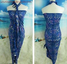 casual beach dresses blue flower Bali handcrafted batik sarong UN22