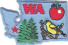 """""""WA"""" WASHINGTON STATE SHAPE PATCH-Iron On Embroidered Applique/Apples, Trees"""