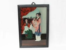 Beautiful Vintage Chinese Reverse Glass Painting Of Two Chinese Ladies Sowing