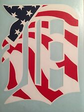 "Detroit Tigers D American Flag Vinyl Decal 4.6""x6"" **FREE SHIPPING**"