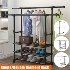 Double Clothes Rail Garment Coat Shirt Hanging Stand On Wheels with Shoe Racks