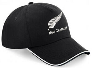 Embroidered New Zealand Image Piped Baseball Cap, Black/White