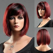 Ladies Short Black Red Blend Wig Classy Bob Style From Premium Vogue Wigs UK