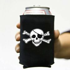 6 Lot Jolly Roger 3 Skull Pirate Beer Pop Can Koozie Koolie Cooler Insulator