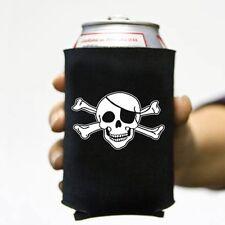 6 Lot Jolly Roger 3 Skull Pirate Beer Pop Can Koozie Koolie Cooler Insulator