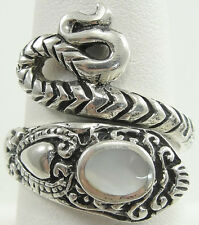 Sterling Silver Mother Of Pearl Snake Ring Ova Cabochon Reptile Asp Size 8