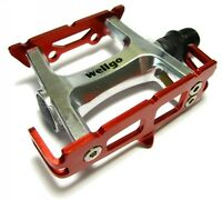 """WELLGO R025 Red Silver Track Fixed Gear Road Bike Pedals Lite 235gr 9/16"""" Alloy"""