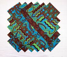 """TEAL, BROWN, & LIME GREEN 5"""" Squares 100% cotton Prewashed Quilt Fabric (#D/91B)"""