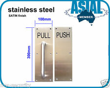 Stainless Steel Door Handle Pull Push Plate Satin Finish Commercial Toilet Door