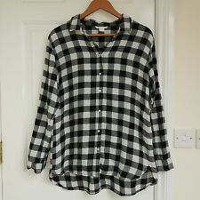 Ladies Plaid Checked Shirt Size 10-12 H&M Black And White