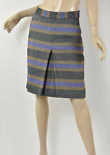 BODEN Blue Brown Navy Woven Striped Cotton & Linen Pleat Front A-Line Skirt S 4