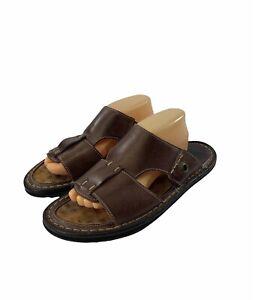 J&M Johnston Murphy Men's Size 10 M Brown Leather Open Toe Slides Sandals