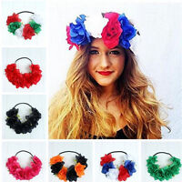 Large Elastic Rose Flower Hair band Crown Festival Headband Garland Boho Party