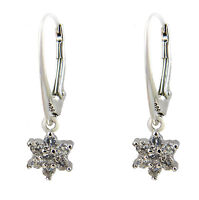 FASHIONS FOREVER® 925 Sterling Silver Star Cubic-Zirconia Leverback Earrings