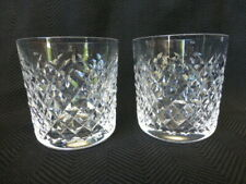 Two Vintage Signed Waterford Crystal Alana Pattern Old Fashioned Tumblers