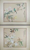 A Pair of Oriental Painting, Asian Watercolor on Silk Art, Spring Bird / Flower