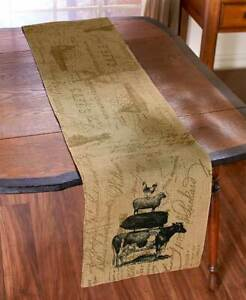 Farm Life Burlap 4 Placemats or Table Runner Country Primitive Rustic Farmhouse