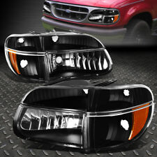 FOR 1995-2001 FORD EXPLORER PAIR BLACK HOUSING AMBER CORNER HEADLIGHT/LAMP SET