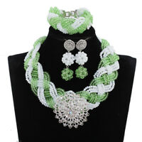 Fashion Crystal Brooch African Jewelry Set New Design Green White Women Necklace