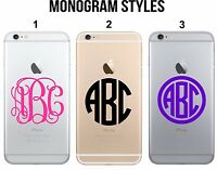 Custom Monogram Decal Sticker for iPhone 5 6 7 8 X Laptop, LG, Cell Phone Case