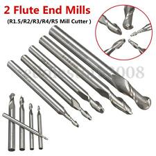 2 Flute Straight Shank R1.5/R2/R3/R4/R5 Ball Nose End Mills Cutter CNC Bit Tool