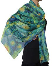 Free Shipping to US Hand Made  Van Gogh's Starry Night Chiffon Scarf Blue