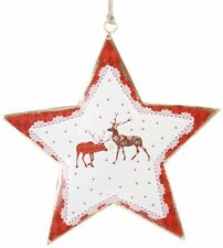 RENNA STAR IN METALLO CON SPAGO STAFFA ~ da Appendere Albero di Natale Decorazione