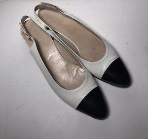 Salvatore Ferragamo Slingback Flat Heels Womens 9 A Black White