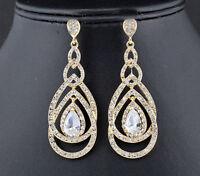 Loops Austrian Rhinestone Crystal CZ Chandelier Dangle Earrings Wed E3512g Gold