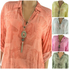 ITALY Damen Bluse mit Print Tunika Oversize Hemd 40 42 44 46 NEU