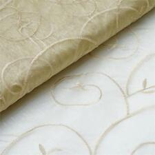 "Champagne Embroidered ORGANZA FABRIC 54"" x 10 yards Bolt Craft Sewing Wedding"
