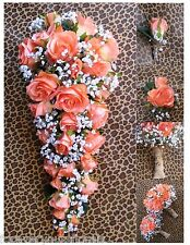 "New Artificial Rustic Coral Reef Wedding Bouquet, Cascading 21"" in length"