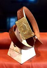 """1 1/2 """" Brown Belt Hand Tooled Tribal Custom Leather Ancient Southwest USA"""