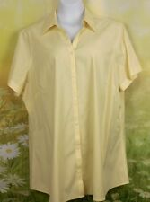 EDDIE BAUER Wrinkle Resistant Lt Yellow Cotton Button-Up SS Shirt Top 2X $60+