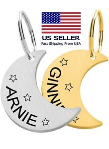 Custom Engraved Cute Dog Tag Moon Luna Pet Tags ID Personalized Double Sided Cat