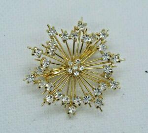 Vintage Gold Tone Crystal Starburst Pin Brooch