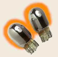 2x Chrome Silver Car Indicator Bulbs Side Repeater 501 Flash Amber Orange
