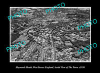 OLD POSTCARD SIZE PHOTO HAYWARDS HEATH SUSSEX ENGLAND TOWN AERIAL VIEW c1950