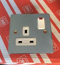 MK Edge  K14657 POC W 13A 1G DP Single Switch Plug Socket Neon Polished Chrome