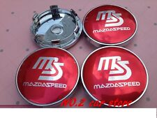 Set of 4 MAZDASPEED  Face 60mm Clip 57mm ALLOY WHEELS CENTER CAPS SET [ Red ]
