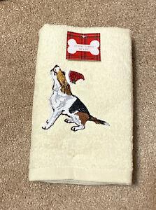 "NWT New Embroidered Christmas Beagle Dog Beige Hand Towel Set of 2 Sz 16"" x 26"""