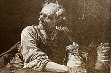 R. Bong THE MISER - OLD MAN w GOLD PIECES 1889 Antique Engraving Print Matted