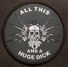 ALL THIS AND A HUGE DICK ARMY MORALE USA DARK OPS VELCRO® BRAND FASTENER PATCH
